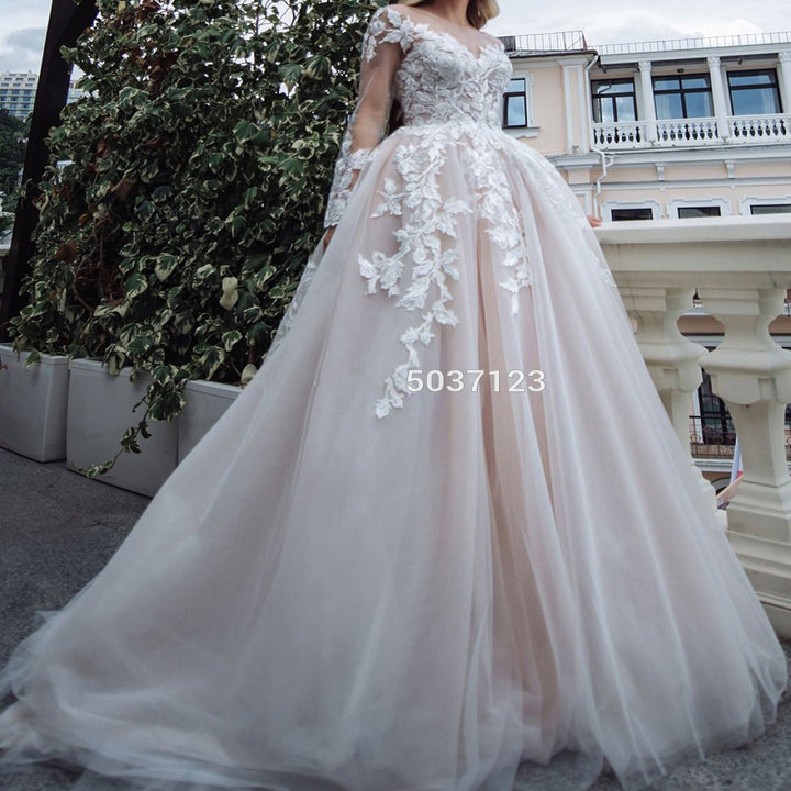 Women's V-Neck Lace Wedding Dress With Court Train