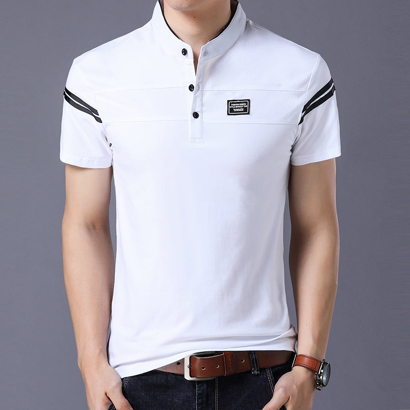 Men's Short Sleeved T-Shirt With Mandarin Collar