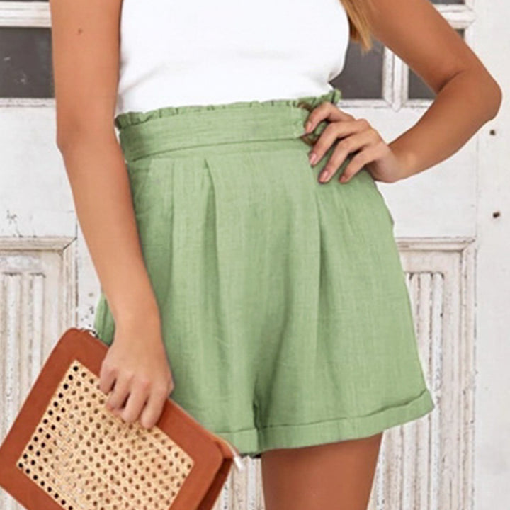 Women's Summer Casual High-Waist Elastic Shorts With Pockets