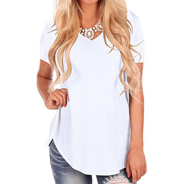 Women's Summer Casual Short-Sleeved V-Neck T-Shirt