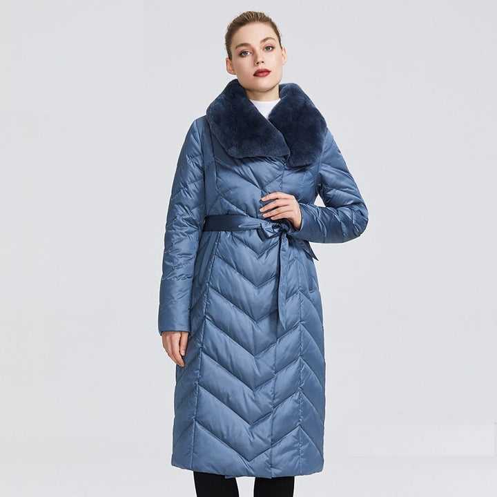 Women's Winter Windproof Thick Belted Parka With Rabbit Fur