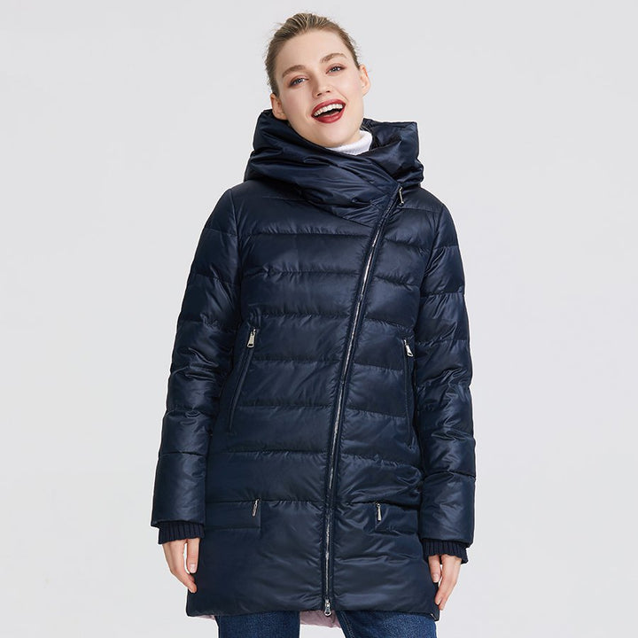 Women's Winter Warm Polyester Parka With Zippers