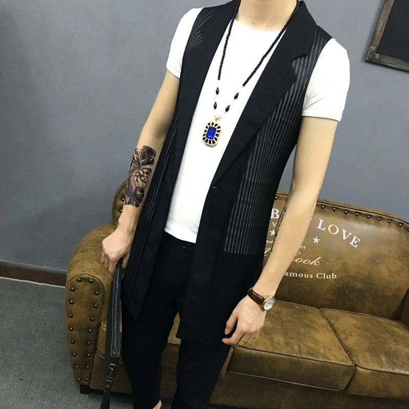 Men's Summer Single Breasted Long Vest