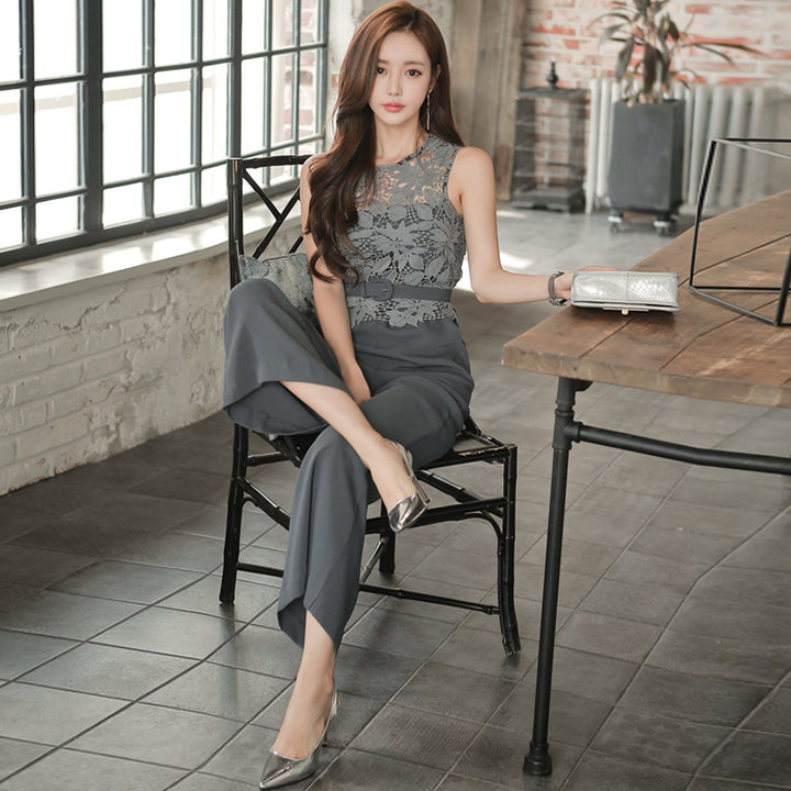 Women's Summer Sleeveless Patchwork High-Waist Jumpsuit