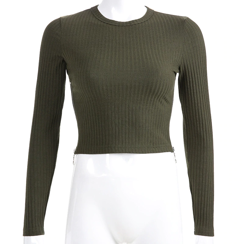 Women's Autumn Casual Spandex Long-Sleeved O-Neck Crop Top