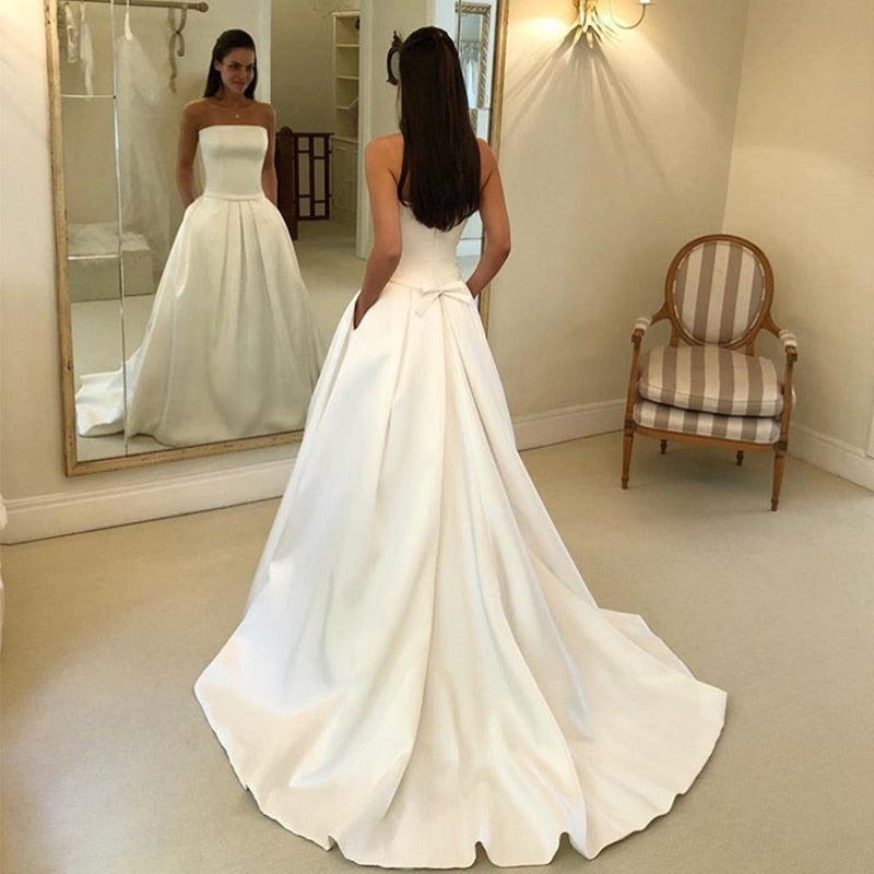 Women's Satin Long Strapless Wedding Dress With Sashes