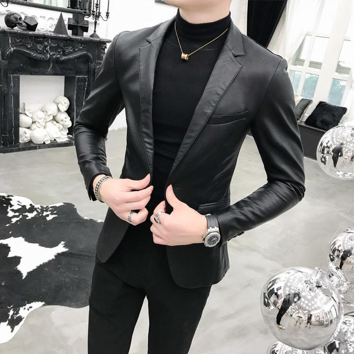 Men's Casual Leather Blazer