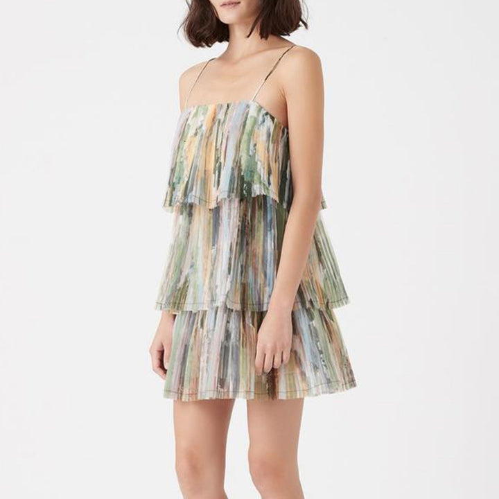 Women's Summer Loose Polyester Dress With Ruffles