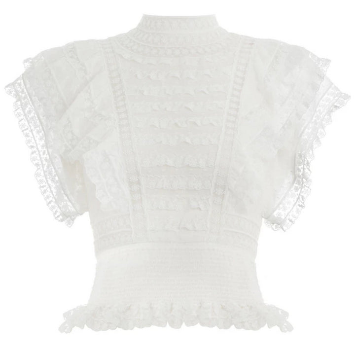 Women's Summer O-Neck Sleeveless Lace Crop Top With Ruffles