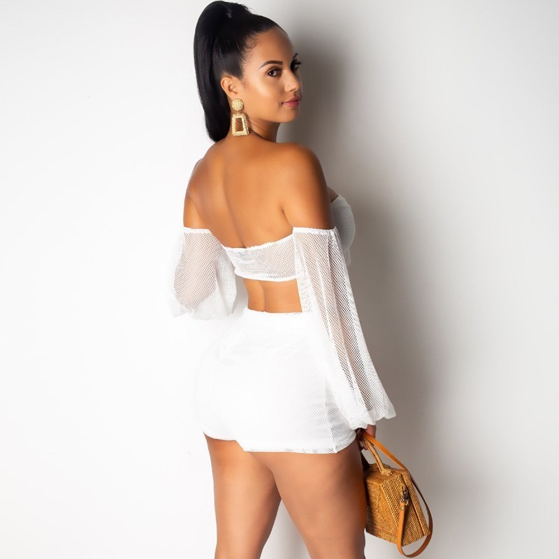 Women's Summer Rayon Off-Shoulder Lace-Up Two-Piece Romper