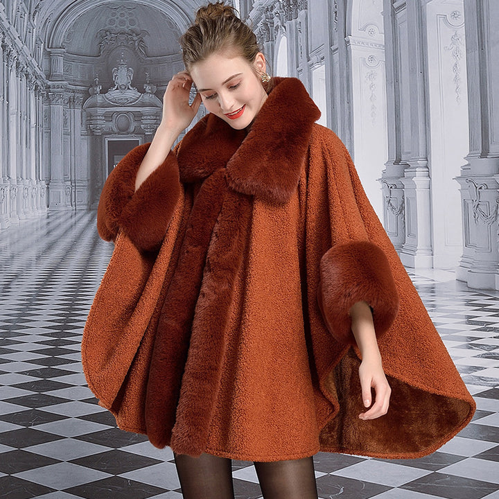 Women's Winter Warm Poncho With Faux Rabbit Fur