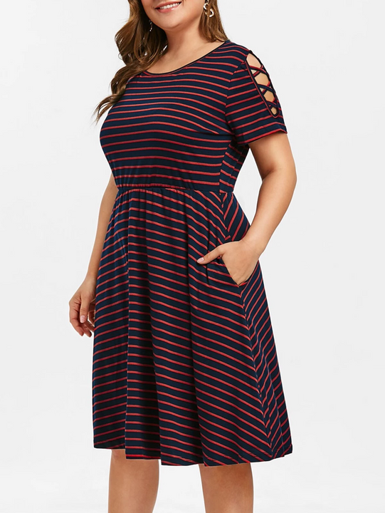 Women's Summer Casual Striped A-Line Dress | Plus Size