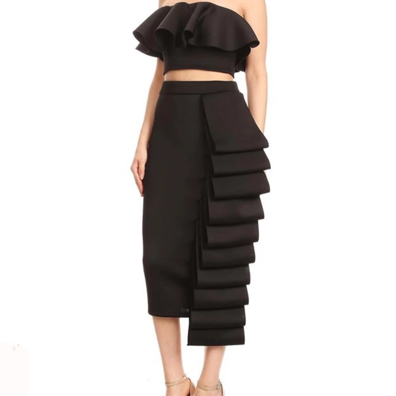 Women's Summer Polyester Two-Piece Dress With Ruffles