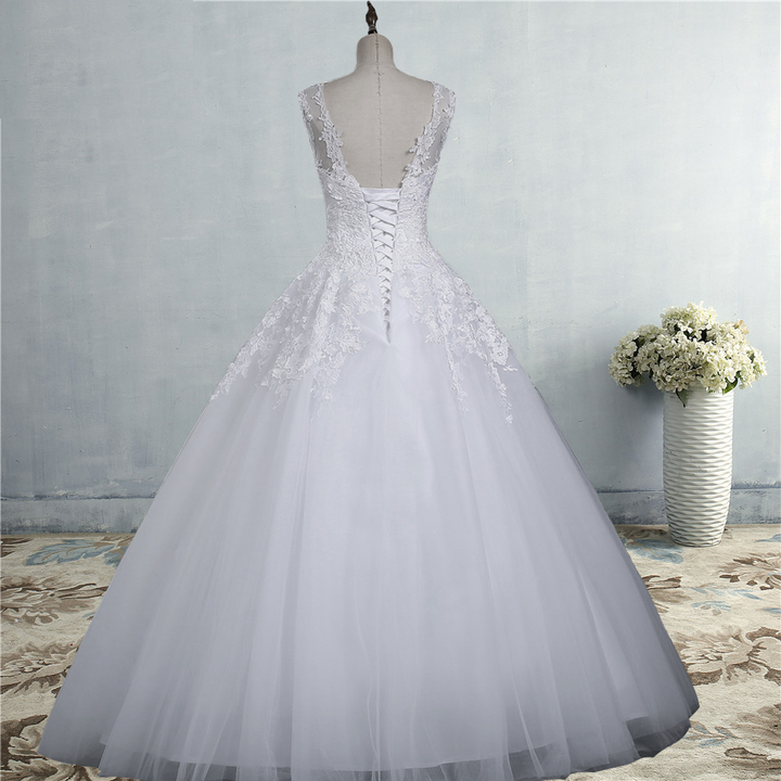 Women's Lace-Up Sleeveless Long Wedding Dress