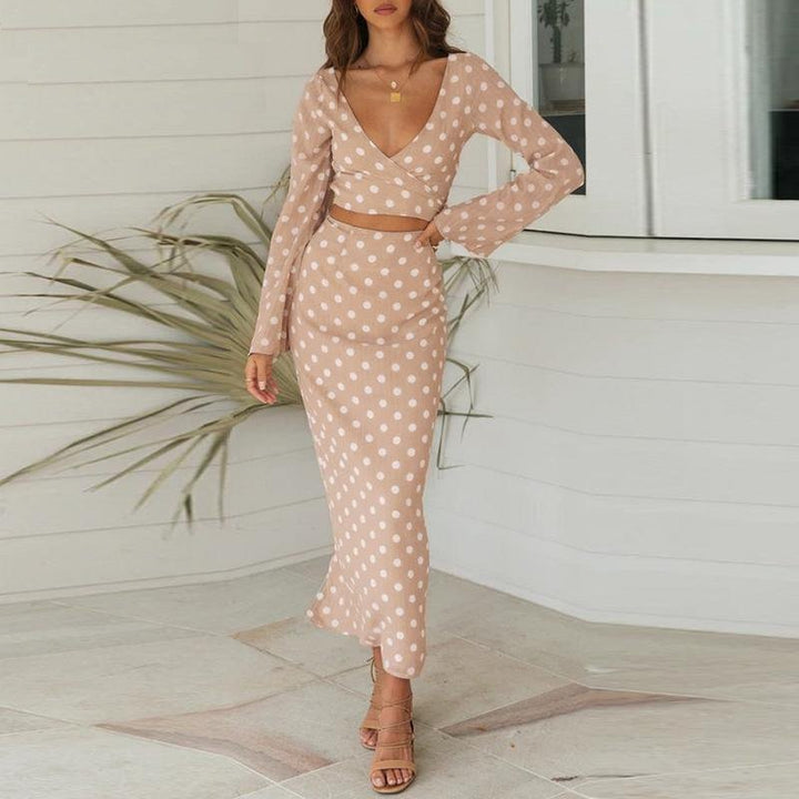 Women's Summer Long V-Neck Two-Piece Dress