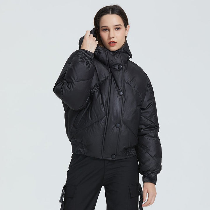 Women's Winter Casual Polyester Short Parka With Pockets