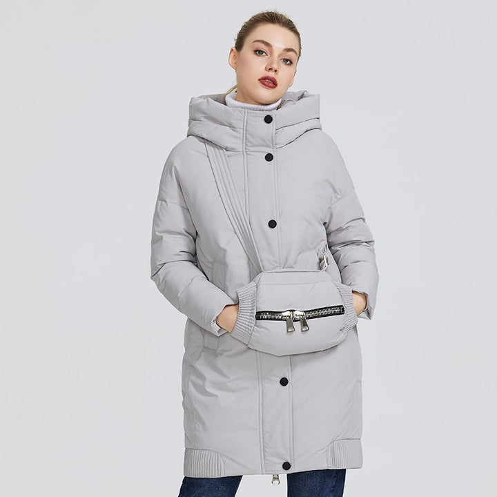 Women's Winter Windproof Polyester Hooded Parka