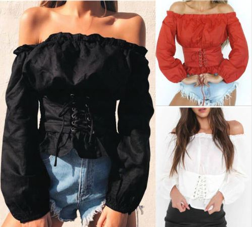 Women's Long Sleeve Off Shoulder Blouse | Lace up Corset