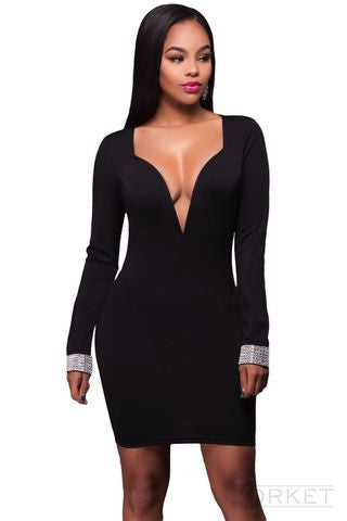 Dress – Women's Evening Beautiful Dress With Deep V-Neck | Zorket
