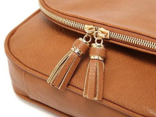 Women's Faux Leather Messenger Bag With Tassel