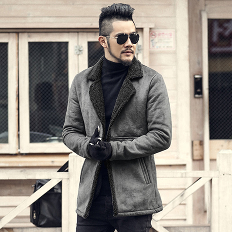 authentic classic fit Clearance sale Men's PU Leather Long Wool Jacket