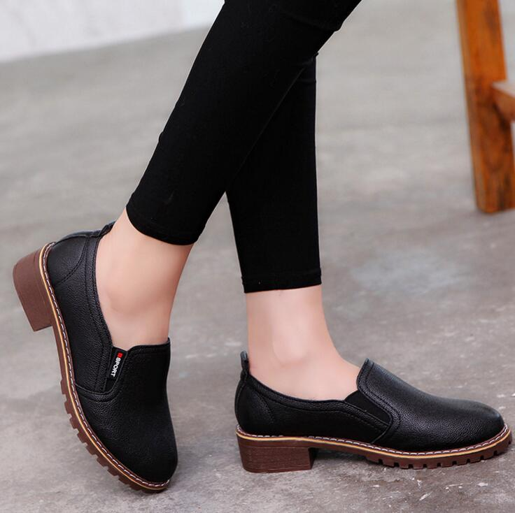 Womens Autumn Lace Up Genuine Leather Oxfords Womens Flat Shoes