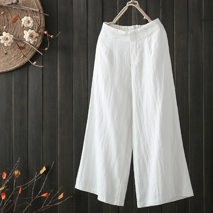 Women's Summer/Autumn Wide Leg Solid Pants With Elastic Waist