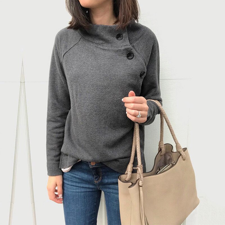 Women's Autumn Casual Solid Sweatshirt With Buttons