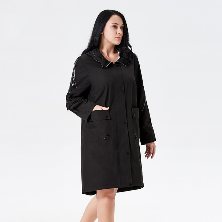 Women's Spring Hooded Loose Trench | Plus Size