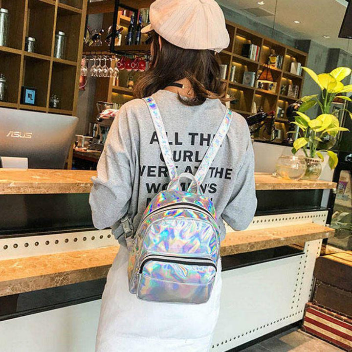 Women's Casual Waterproof Holographic Backpack