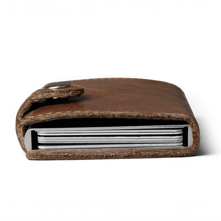 Men's Genuine Leather Wallet With Automatic Clasp