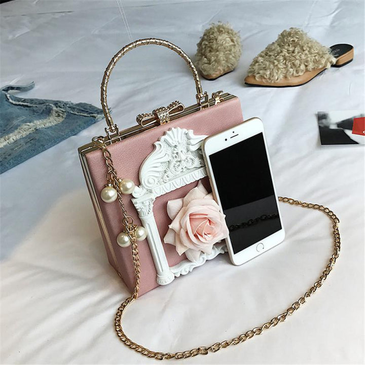 Women's Handbag With Pearls And Chain