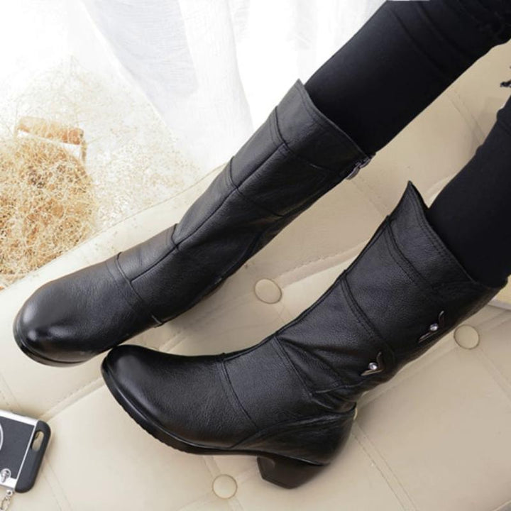 Women's Winter Genuine Leather Boots With Plush