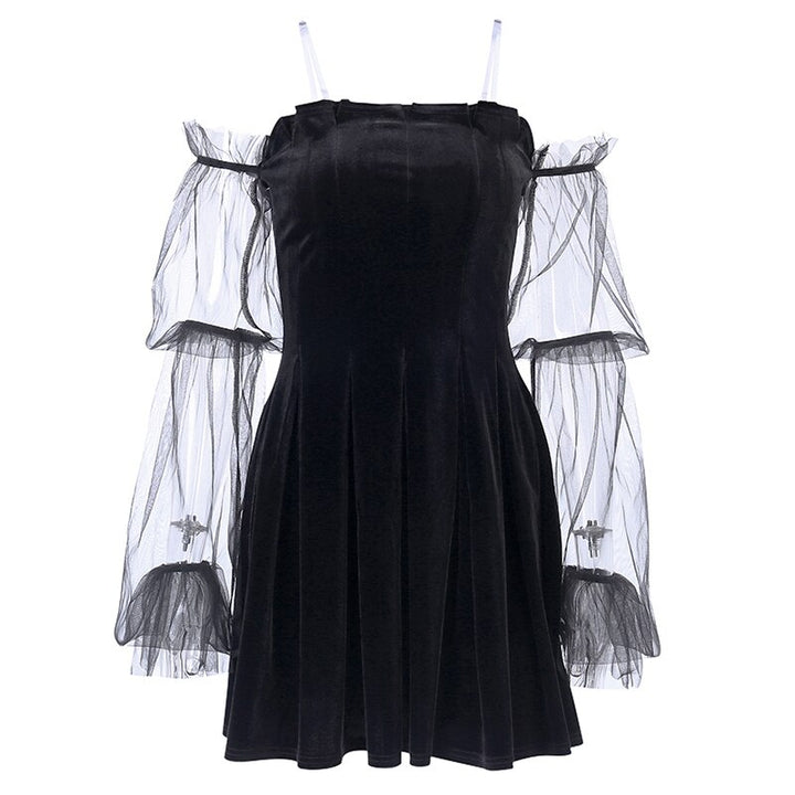 Women's Off Shoulder Pleated A-Line Dress