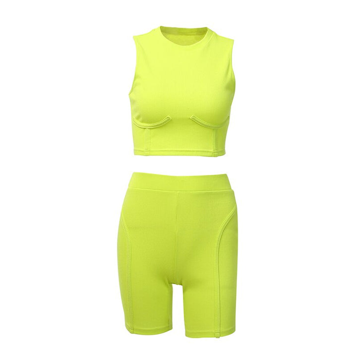 Women's Summer Stretchy Bodycon Sleeveless Fitness Set