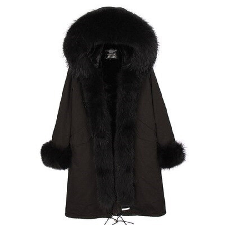 Women's Winter Casual Slim Long Parka With Raccoon Fur