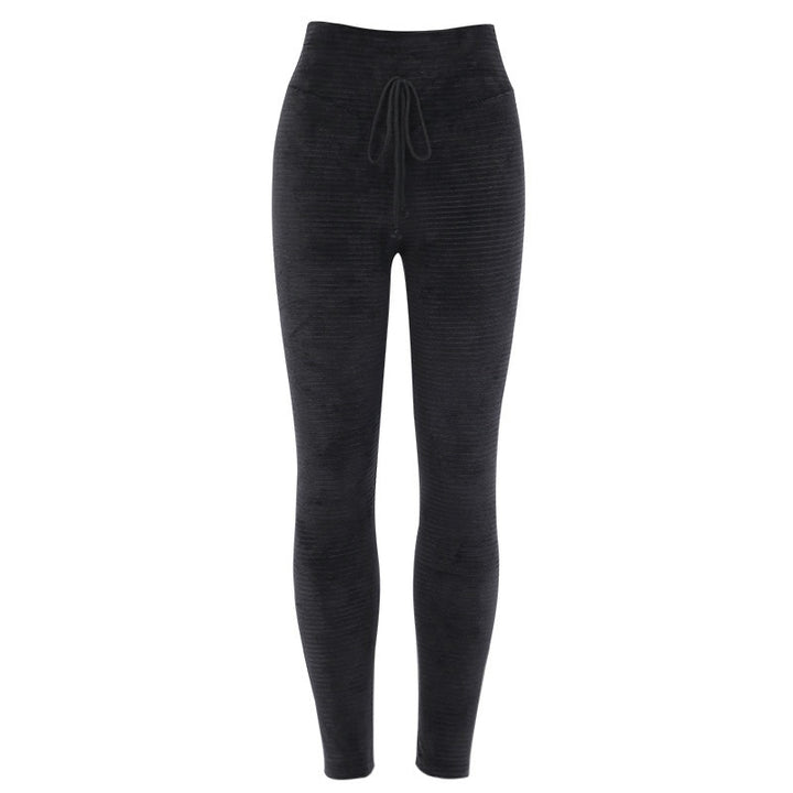 Women's Autumn/Winter Warm Ribbed High Waist Elastic Pants