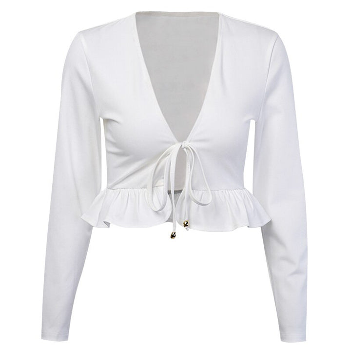 Women's Spring Long Sleeve Ruffle V-Neck Blouse