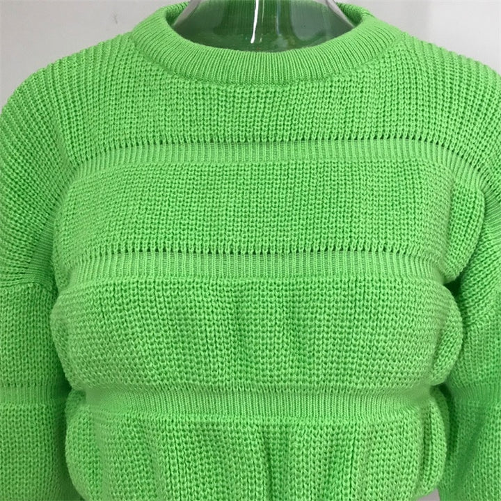 Women's Autumn/Winter Casual Knitted O-Neck Cropped Sweater
