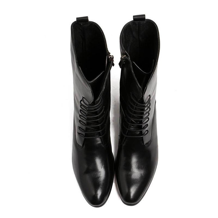Men's Genuine Leather Laced Up Boots | Plus Size