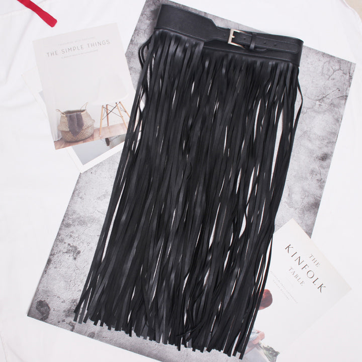 Women's Spring/Summer Leather Belt With Long Tassels