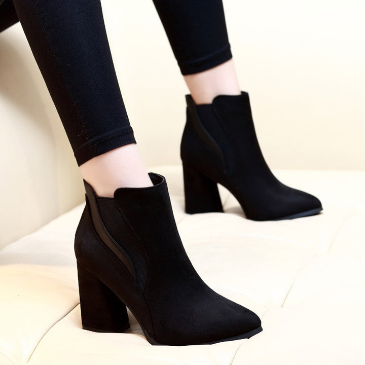 Women's Winter Leather Pointed Toe Ankle Boots