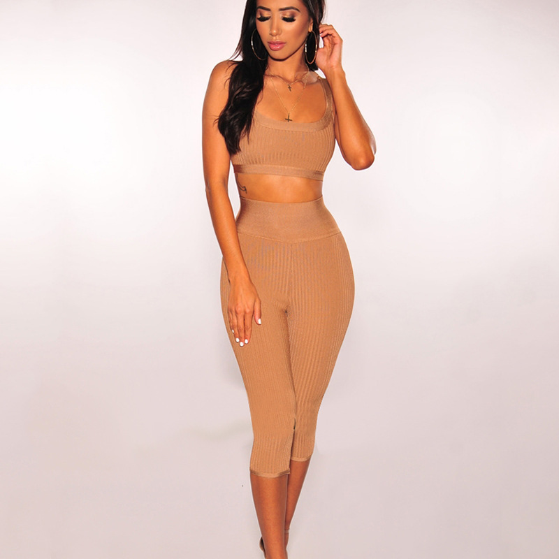 Women's Summer Casual Polyester Knitted Two-Piece Jumpsuit