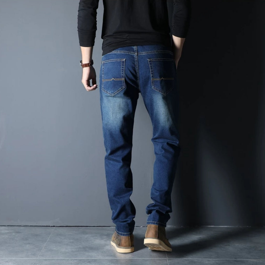 Men's Autumn/Winter Loose Straight Elastic Jeans | Plus Size