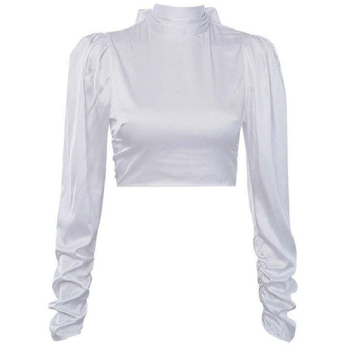 Women's Spring/Autumn Satin Backless High Neck Blouse
