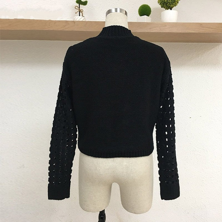 Women's Autumn/Winter High Neck Cropped Slim Sweater