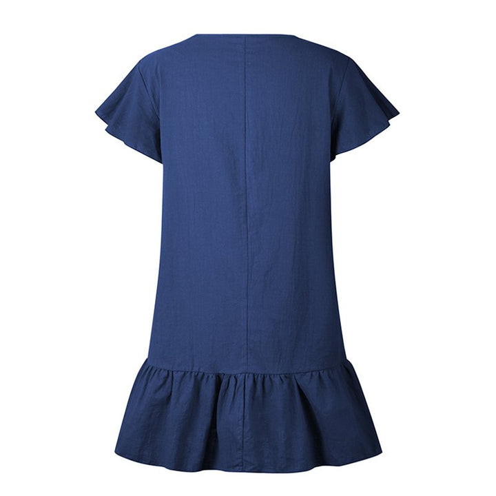 Women's Summer Solid V-Neck Cotton Mini Dress