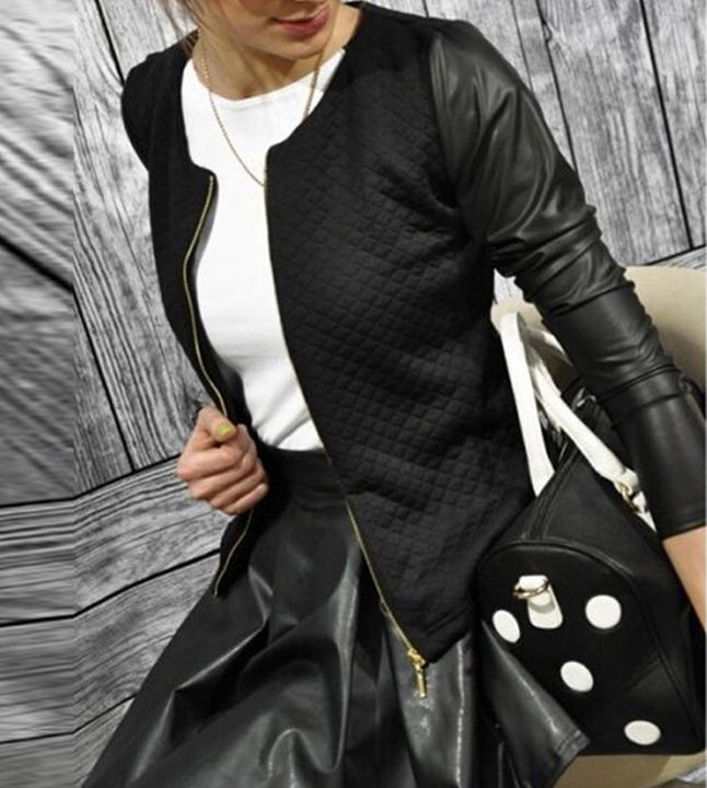 Women's Spring Zipped PU Leather Jacket