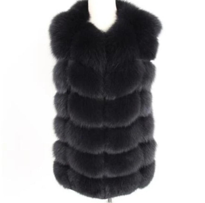 Women's Autumn/Winter Casual Real Fox O-Neck Slim Vest