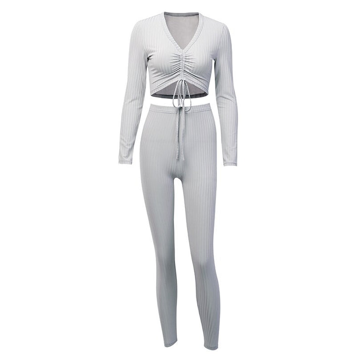 Women's Autumn Casual V-Neck Solid Elastic Two-Piece Suit